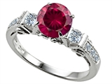 Original Star K Classic 3 Stone Engagement Ring With Round 7mm Created Ruby