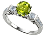 Original Star K Classic 3 Stone Engagement Ring With Round 7mm Genuine Peridot