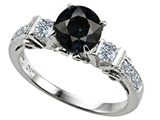 Original Star K™ Classic 3 Stone Engagement Ring With Round 7mm Genuine Black Sapphire style: 305411