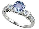 Original Star K™ Classic 3 Stone Engagement Ring With Round 7mm Simulated Aquamarine