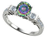 Original Star K Classic 3 Stone Engagement Ring With Round 7mm Rainbow Mystic Topaz