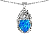 Original Star K™ Loving Mother Twins Family Pendant With 8mm Heart Shape Created Blue Opal