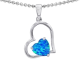Original Star K™ 7mm Heart Shape Simulated Blue Opal Pendant style: 305419