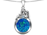 Original Star K™ Loving Mother And Father With Child Family Pendant With Round Created Blue Opal
