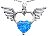 Original Star K™ Wings Of Love Birthstone Pendant with 8mm Heart Shape Created Blue Opal