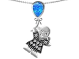 Original Star K™ Girl Holding a Balloon Mother Birth Month Pear Shape Blue Simulated Opal Pendant style: 305423