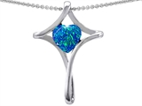Original Star K™ Large Christian Cross Of Love Pendant With Blue Simulated Opal style: 305427