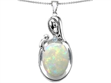 Original Star K™ Loving Mother With Child Family Pendant With Oval Simulated Opal style: 305430