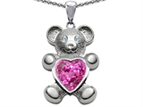 Original Star K™ Love Bear Holding Birth Month of September Heart Shape 8mm Created Pink Sapphire style: 305438