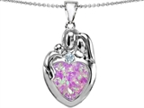 Original Star K™ Large Loving Mother Father With Child Family Pendant With 12mm Heart Created Pink Opal