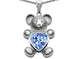 Original Star K Love Bear Holding Birthstone of March Heart Shape Simulated Aquamarine
