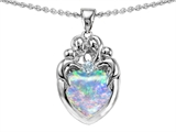 Original Star K™ Loving Mother And Family Pendant With Heart Shape Created Opal