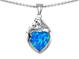 Original Star K™ Loving Mother With Child Family Pendant With 8mm Heart Shape Created Blue Opal