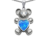 Original Star K™ Love Bear Holding Birthstone of October Heart Shape Simulated Blue Opal style: 305453