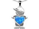 Original Star K™ Little Boy Holding 8mm Heart Mother Birthstone Pendant Created Blue Opal