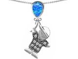Original Star K™ Little Boy Holding a Balloon Mother Birthstone Created Blue Opal Pendant