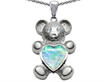 Original Star K™ Love Bear Holding Birthstone of October Heart Shape Created Opal style: 305456