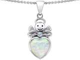 Original Star K Love Angel Pendant with 10mm Created Opal Heart