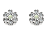 Original Star K™ Flower Earrings With Round Simulated Opal style: 305462