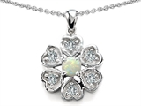 Original Star K™ Flower Pendant With Round 4mm Created Opal
