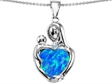 Original Star K™ Large Loving Mother With Child Pendant With 12mm Heart Shape Created Blue Opal