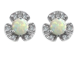 Original Star K™ Flower Earrings With Round 5mm Simulated Opal style: 305472