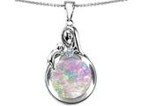 Original Star K™ Loving Mother With Child Family Pendant With Round Created Pink Opal