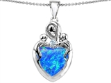 Original Star K™ Large Loving Mother Twin Children Pendant With 12mm Heart Created Blue Opal style: 305479