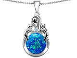 Original Star K™ Large Loving Mother With Children Pendant With Round Created Blue Opal