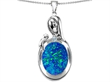 Original Star K™ Loving Mother With Child Family Pendant With Oval Created Blue Opal