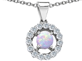 Original Star K Round Created Opal Pendant