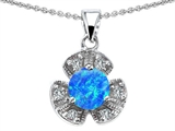 Original Star K Flower Pendant With Round 6mm Created Blue Opal