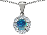 Original Star K Round 6mm Created Blue Opal Pendant