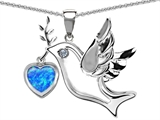 Original Star K Peace Love Dove Pendant with 7mm Heart Shape Created Blue Opal