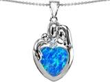 Original Star K™ Large Loving Mother Father With Child Family Pendant With 12mm Heart Created Blue Opal