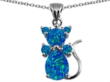 Original Star K Cat Pendant With Created Blue Opal