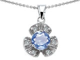 Original Star K™ Flower Pendant With Round 6mm Simulated Aquamarine