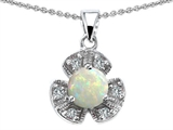Original Star K Flower Pendant With Round 6mm Created Opal