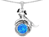 Original Star K Dog Lover Pendant with October Birthstone Created Blue Opal