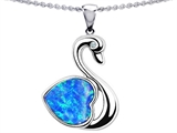 Original Star K Love Swan Pendant With Heart Shape 8mm Created Blue Opal