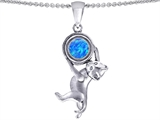 Original Star K Cat Lover Pendant with October Birthstone Created Blue Opal