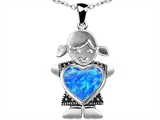Original Star K Little Girl Holding 8mm Heart Mother Birthstone Pendant Created Blue Opal