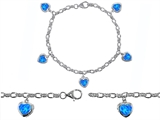 Original Star K High End Tennis Charm Bracelet With 5pcs 7mm Created Heart Blue Opal