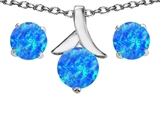 Original Star K™ Created Blue Opal Round Pendant with matching earrings style: 305508
