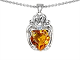 Original Star K™ Loving Mother And Hugging Family Pendant With Heart Shape 8mm Genuine Citrine