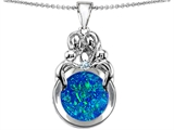 Original Star K™ Large Loving Mother And Family Pendant With Round 10mm Created Blue Opal