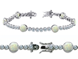 Original Star K™ High End Tennis Bracelet With 6pcs 6mm Simulated Round Opal style: 305525