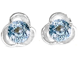 Original Star K Round Simulated Aquamarine Flower Earring Studs
