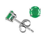 Tommaso Design Round 4mm Genuine Emerald Earrings