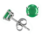 Tommaso Design Round 5mm Genuine Emerald Earrings